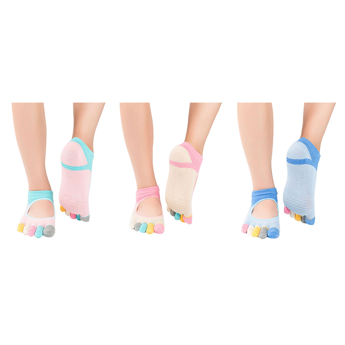 Brand New Women Pilates Five Toe Cotton Non-Slip Yoga Socks Female Calcetines Mix Color