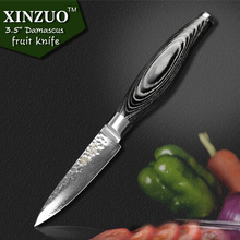 XINZUO 3.5″ inch paring knife 73 layers Japanese Damascus kitchen knife fruit knife with K133 Color wood handle free shipping