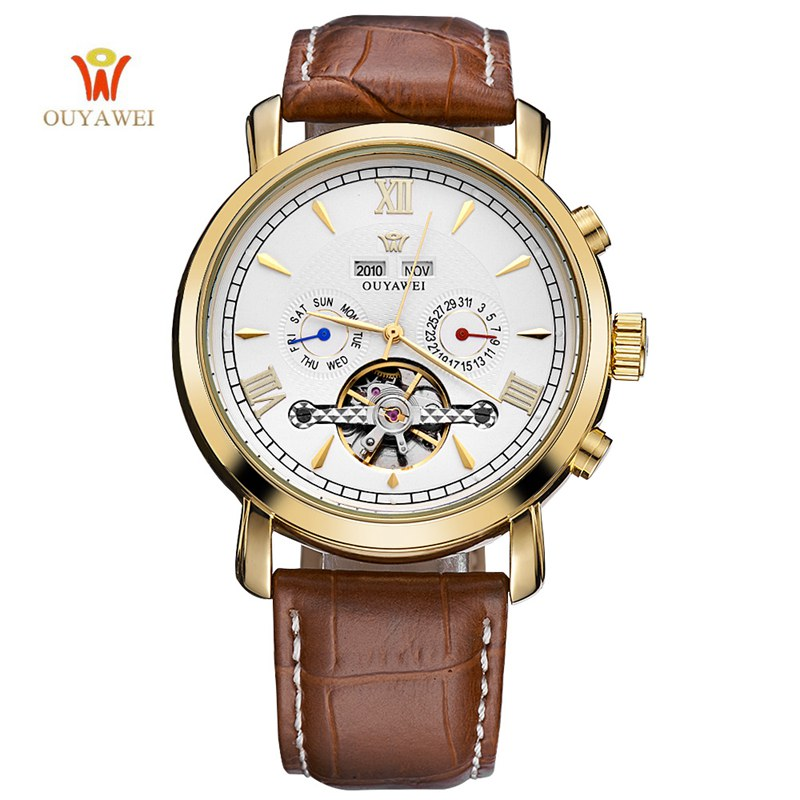 OUYAWEI Mens Tourbillon Watch Automatic Luxury Business Classic Rose Gold Leather Skeleton Mechanical Wrist Watches Reloj Hombre 2017 new arrivals mechanical watch parnis 44mm 5bar luminous brown leather rose gold mens automatic watch reloj hombre