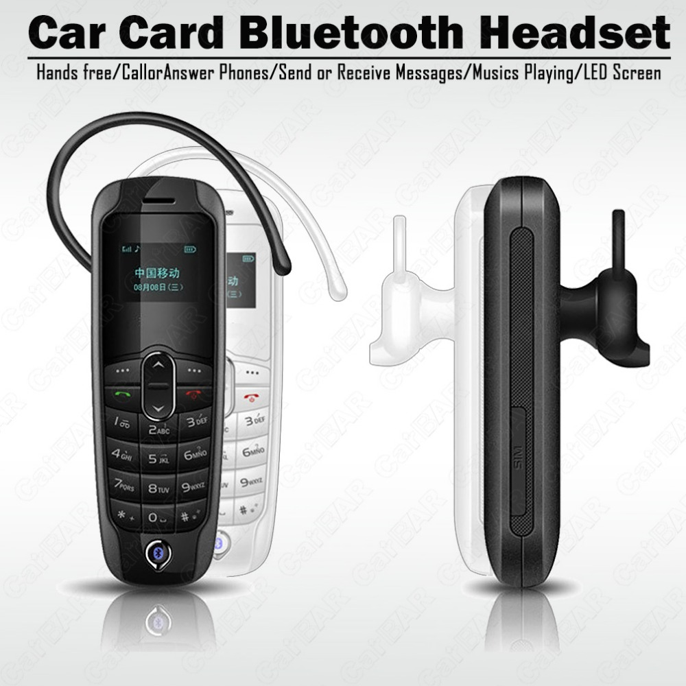 Car Card Bluetooth Headset Hands Free Calls Stereo Audio Music Phone Play Mini Single Sim Card