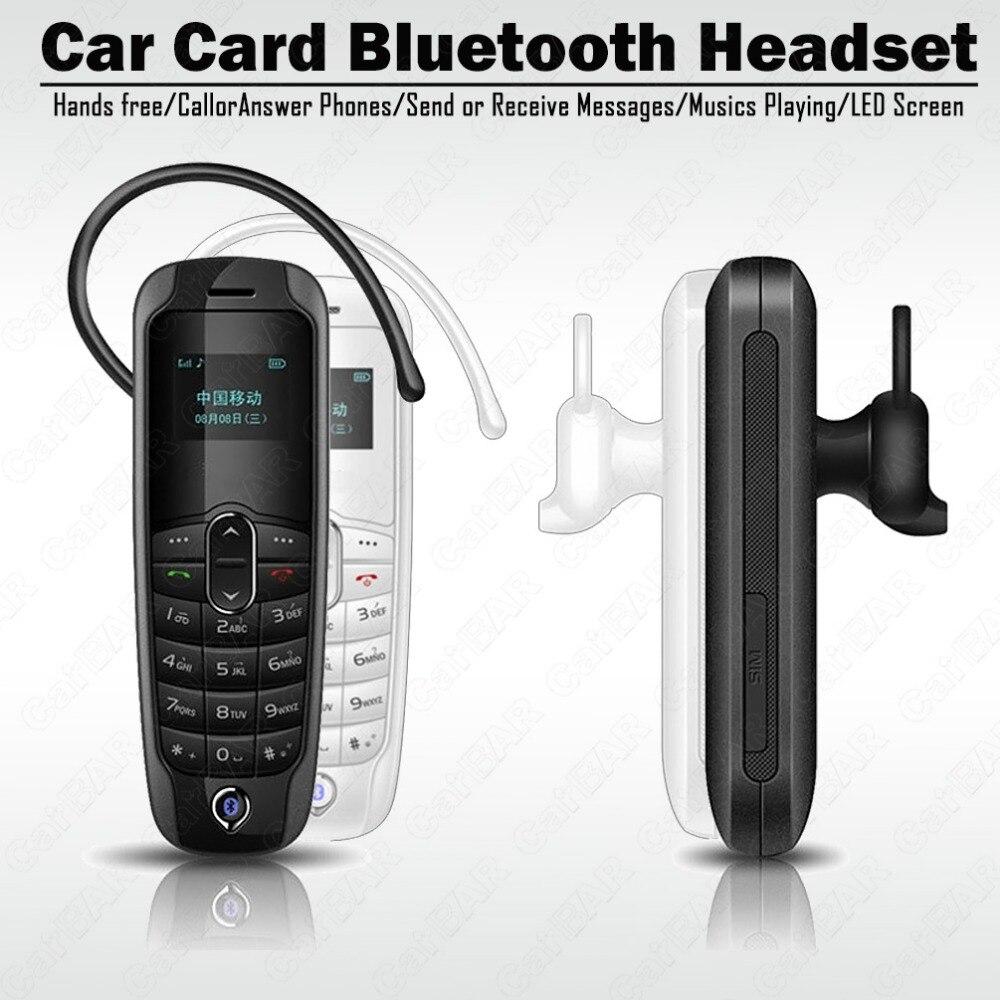 Voiture Carte casque Bluetooth Mains Libres Appels Stéréo Audio téléphone musique Jouer Mini unique carte sim de téléphone Bluetooth dialer Répertoire