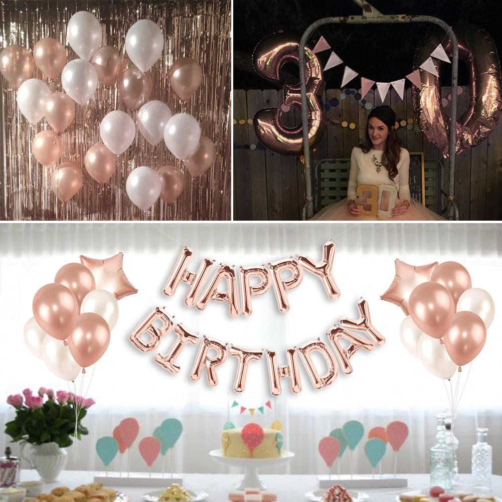 Free Shipping Rose Gold Birthday Party Balloon Decoration Set 30th Happy 2018 In Ballons Accessories From