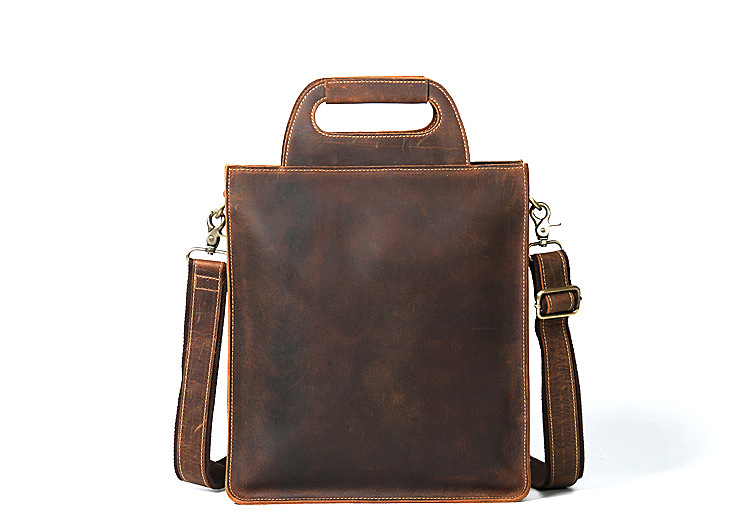 Genuine Leather Men Business Briefcase Laptop Bag Messenger Travel Bags Shoulder Male Crazy Horse Cowhide Retro Handbags Bag 301 retro crazy horse cow genuine leather bags 16 inch men s shoulder bag for men briefcase real leather handbags laptop bags