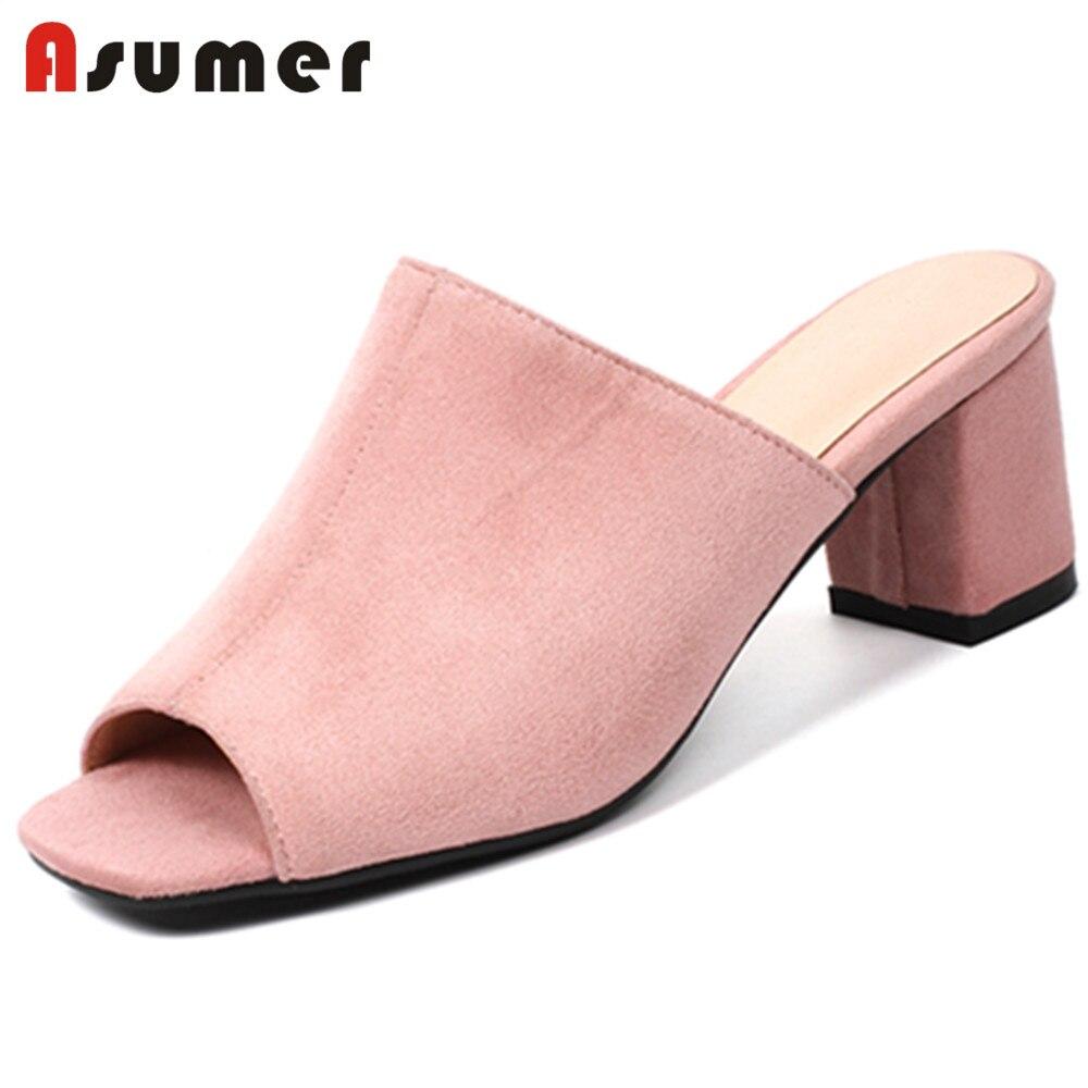 ASUMER Sandals Women High-Heels Black Big-Size Peep-Toe Fashion Pink 32-44 Apricot New-Arrivals
