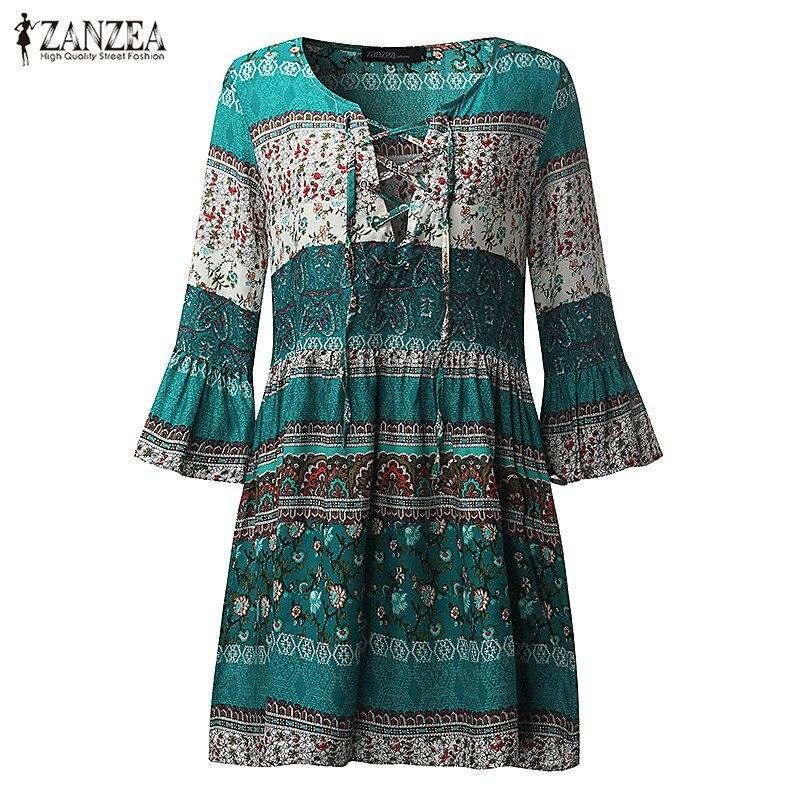 Zanzea mujeres vintage floral print party sexy mini dress 2017 de la señora vola