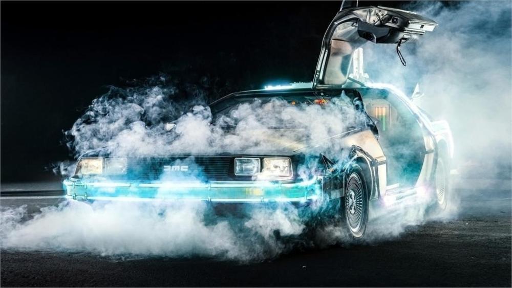 2016 Real Canvas Schilderij Terug Naar De Toekomst Delorean Tijd Reizen Cars Films Rook 4 Maten Woondecoratie Canvas Poster Print Glanzend Oppervlak