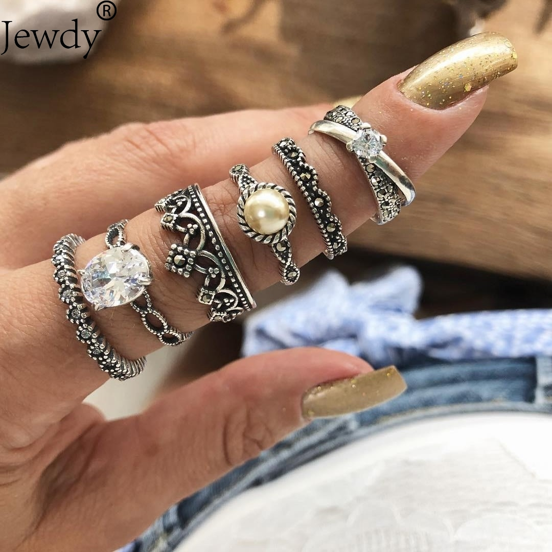 Jewdy Vintage Bohemian Ring Set Punk Antique Silver Color Cubic Zircon Geometric Knuckle Midi Rings for Women Jewelry Gifts