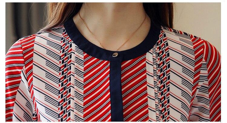 Chiffon Blouse Shirt Striped loose Woman Blouses  5