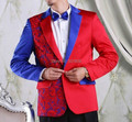 Free shipping mens lace embroidery red and blue tuxedo jacket and pants suits set performance/event suit