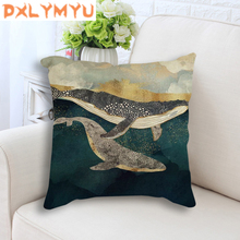 Linen Cushion Cover Abstract Landscape Mountain Deer whale Nordic Pillowcase Throw Pillow 45x45cm Decorative for Sofa