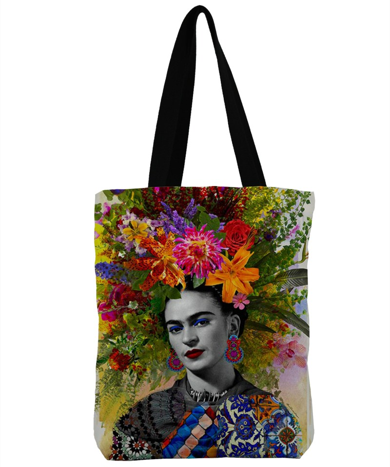 ZHBSLWT3D Print Frida Kahlo Design Beach Bags For Female Single Shoulder Shopping Bag Casual Canvas Tote Handbag Big