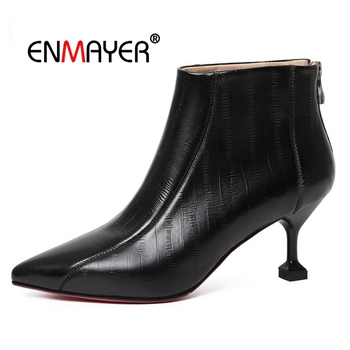 ENMAYER Ankle Boots Chunky High Heels Stretch Women Autumn Sexy Booties Pointed Toe Women Pump zipper Fashion boots CR1709