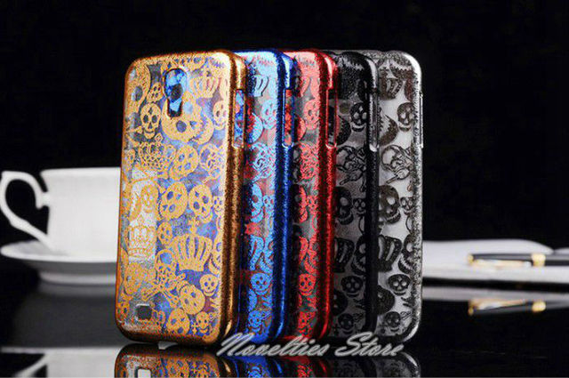New Arrival Cool Elegant Air Thin Translucent Plated Skull Case for Samsung Galaxy S4, S IV, i9500, i9508, 5 Colors, 1pc/lot
