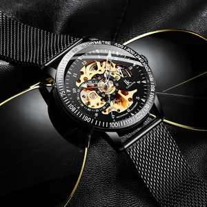 Image 4 - IK Colouring Mens Watches Mesh Braided Stainless Steel Band Automatic Mechanical Male Clock Skeleton Steampunk Relogio Masculino