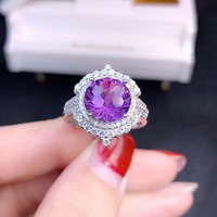 Amethyst ring Free shipping Natural real amethyst 925 sterling silver Fine jewelry 10*10mm