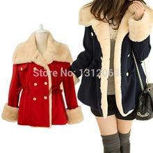 Winter Warm Korean Fashion Wool Blend Jacket Double-breasted Women Coat Outwear
