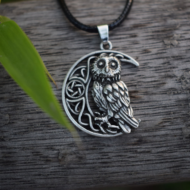 US $23 79 15% OFF|12pcs Owl Goddess Crescent Moon Pendant Wicca Celtic  Pagan Amulet Talisman Occult Magick Athena Wisdom Knowledge SanLan  Jewelry-in
