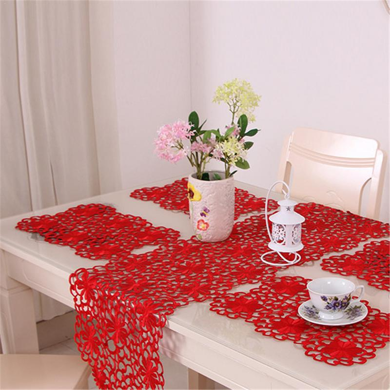 Classical Romantic Innovative Hollow Out Embroidered Table Runner Placemat Tablecloth For Home Living Room Restaurant Etc