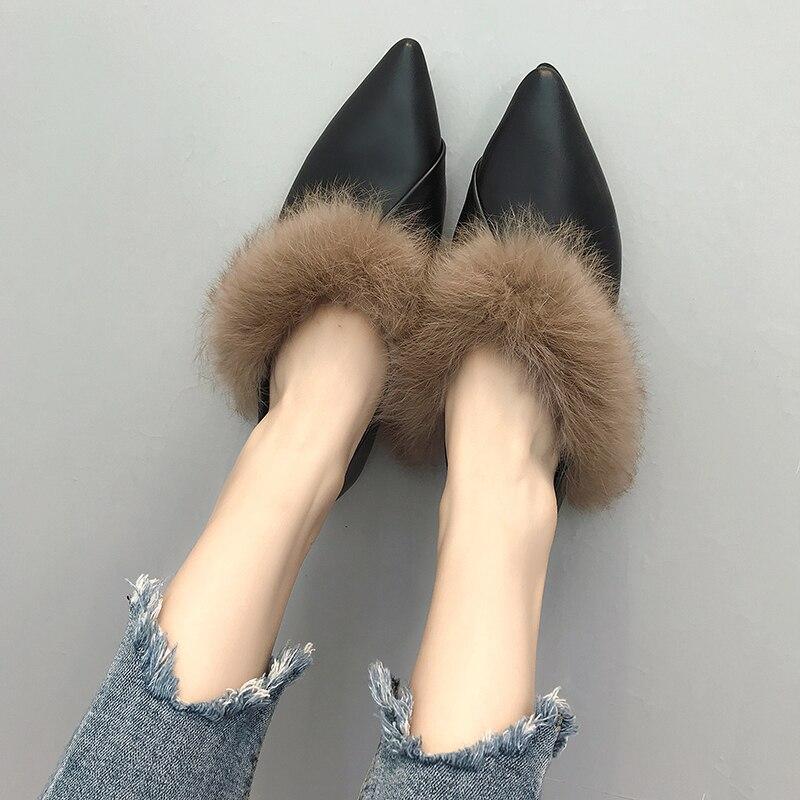 Mujer Deslizamiento marrón La Invierno 2018 Holgazán Pu 6853 Imitación Cuero De Los Zapatos Zapatillas Mujeres Piel Conejo Mocasines En Felpa Las Planos Negro 66BqU