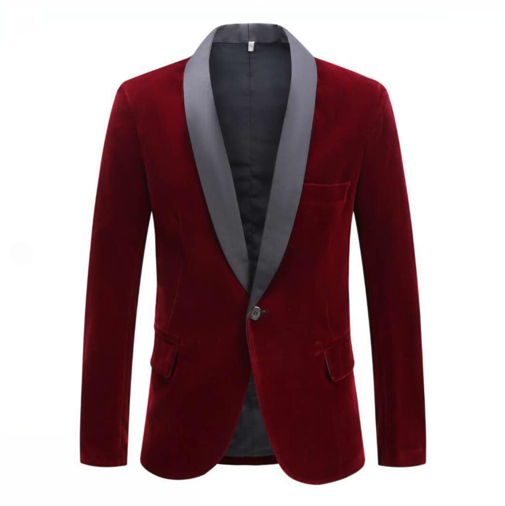 Pyjtrl blazer masculino da moda, veludo, vinho,