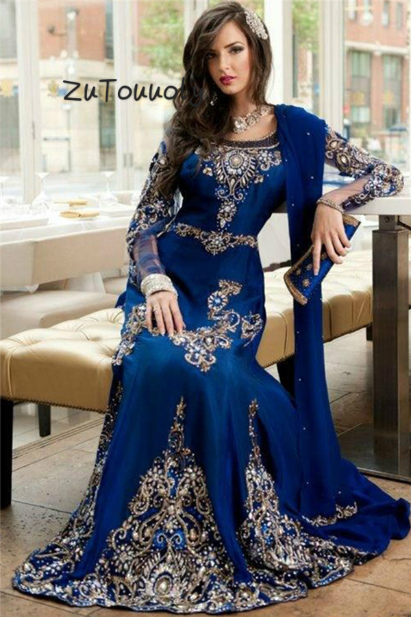 Royal Blue Islamic Muslim   Evening     Dress   Elegant Long Sleeve Appliques Beaded Turish Mermaid Prom   Dresses   Flowy   Evening   Gown 2018