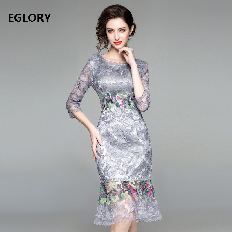 Ruffle Dress 2018 Autumn Winter Party Cocktail Women O-Neck Luxurious  Embroidery Sexy Hip Package. US  71.93. (1). It s YiiYa Luxury Light Green Half  Sleeve ... 834630e23f7a