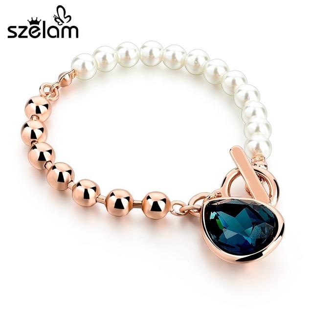 Szelam Rose Gold Beads Bracelet 2017 Imitation Pearl Bracelets With