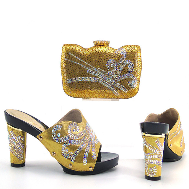 Latest African Shoes And Handbags Set Fashion Womens High Heel Sandals Matching Bags For Wedding Yellow