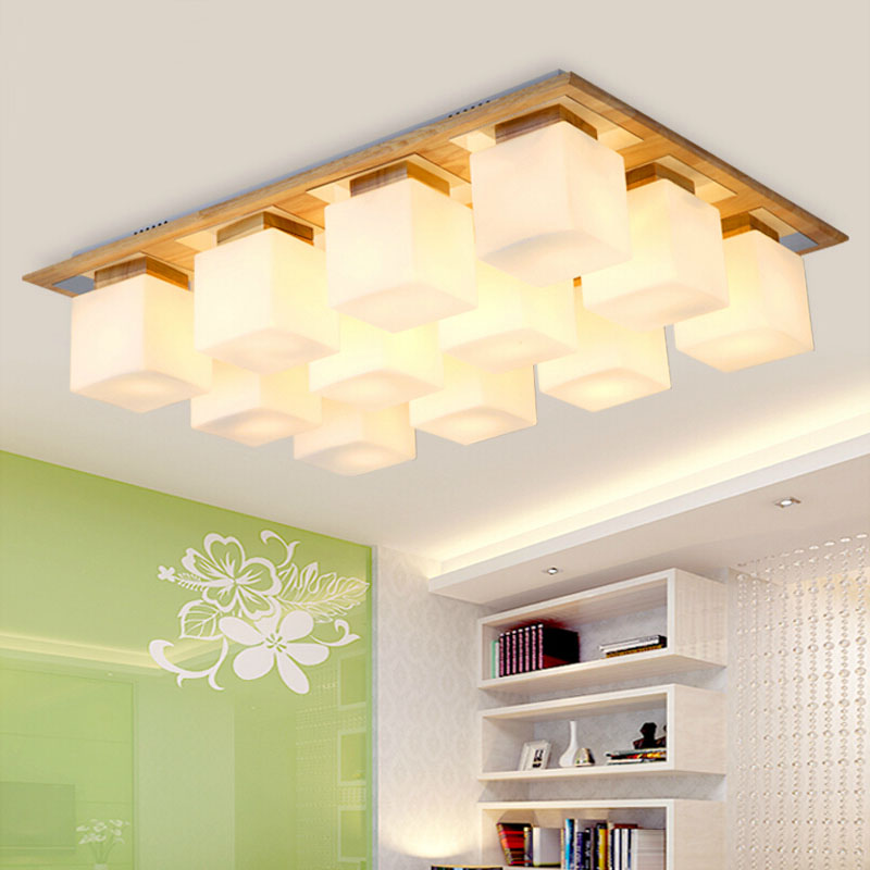 Glass shade+OAK  Modern led ceiling lights for living room bedroom lamparas de techo wooden led ceiling lamp fixtures luminaire crystal modern led ceiling lights for living room bedroom kitchen lustre lamparas de techo avize crystal ceiling lamp fixtures