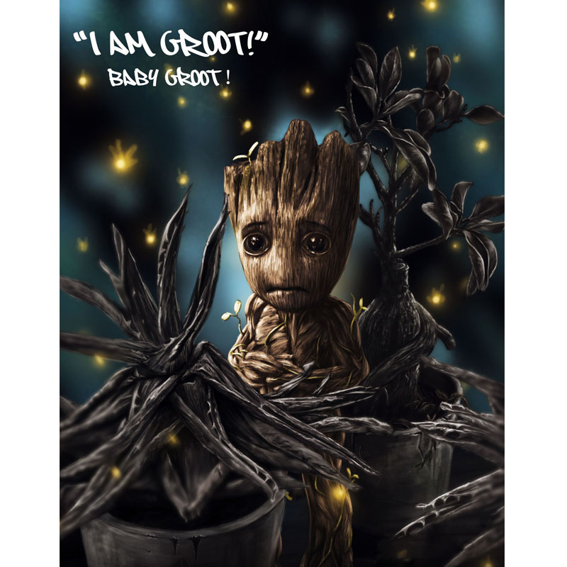 Groot Full square embroidery Diamond 5D DIY diamond Painting Cross Stitch picture of Mosaic Rhinestone Y0071 in Diamond Painting Cross Stitch from Home Garden
