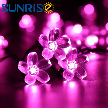 7M 50LEDS DC12V Solar Energy Silver Wire Flower String Lights 360 Degrees DIY Decoration for Party wedding LED Lamps string led