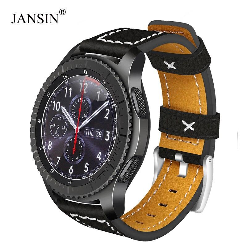 Bracelet de montre universel en cuir JANSIN 22mm pour Samsung Gear S3 Frontier/s3 classique/Galaxy montre 46mm/Moto 360 2nd 46mm bracelet de montreBracelet de montre universel en cuir JANSIN 22mm pour Samsung Gear S3 Frontier/s3 classique/Galaxy montre 46mm/Moto 360 2nd 46mm bracelet de montre