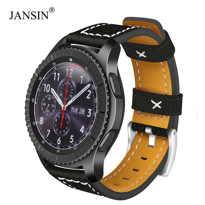 JANSIN 22mm universal Leather watch Strap For Samsung Gear S3 Frontier/s3 Classic/Galaxy Watch 46mm/Moto 360 2nd 46mm watch bandJANSIN 22mm universal Leather watch Strap For Samsung Gear S3 Frontier/s3 Classic/Galaxy Watch 46mm/Moto 360 2nd 46mm watch band