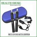 Venta caliente doble EVOD MT3 Kits de cigarrillos electrónicos 650,900, 1100 mah EVOD batería 2.4 ml atomizador MT3 estuche de cremallera envío gratis