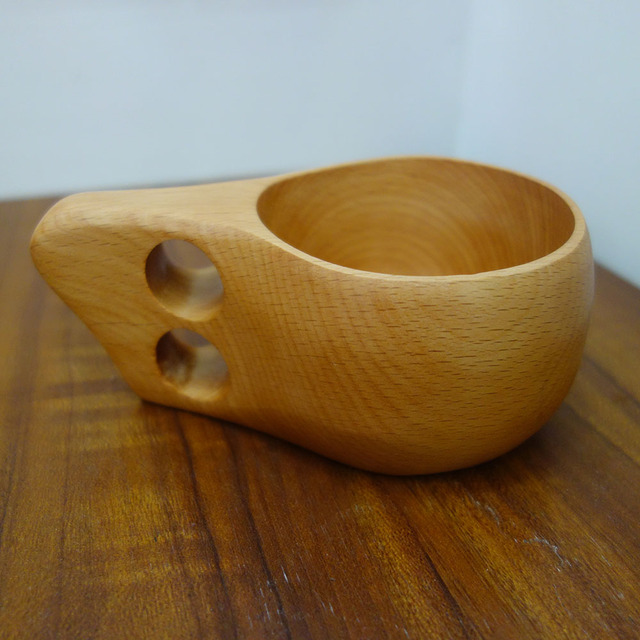 Novelty Mug Finland handmade Kuksa Wooden Coffee Cup with Dual ring 1