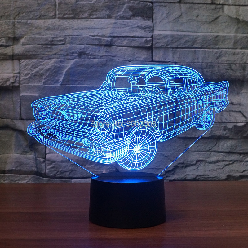 Creative 3D car shapes colorful night lights 7 colors LED baby sleep lamp as gifts or room hotel club decoration