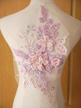 light purple sequined lace applique, heavy bead lace applique, 3D lace applique with rhinestones, 3d floral, 3d flower applique plus 3d flower applique portrait tee