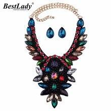 Mejor dama de Lujo Crystal Declaración Collar y Colgante Multicolor Boho Chunky Mujeres Collar de Regalo de Boda de La Marca de Fábrica Grande Al Por Mayor 3851
