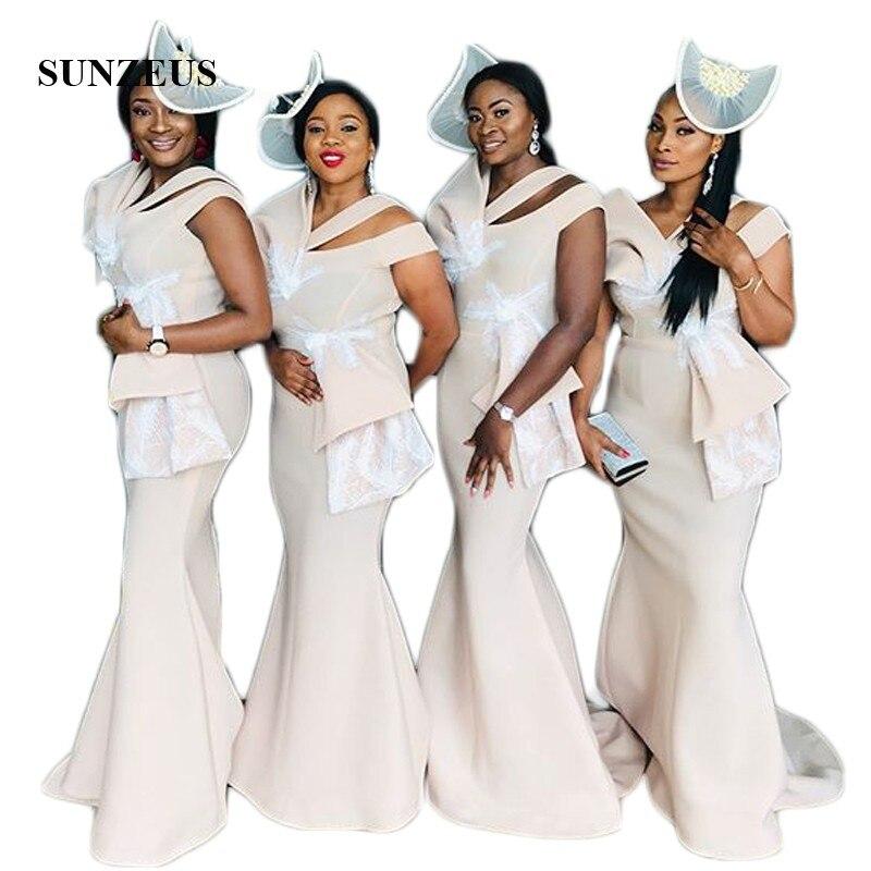 Party Formale Frauen Für Sbd183 Meerjungfrau Appliques Elegante Brautjungfer Champagne Spitze Scoop Afrikanischen Kleider Hochzeit qZfRwf