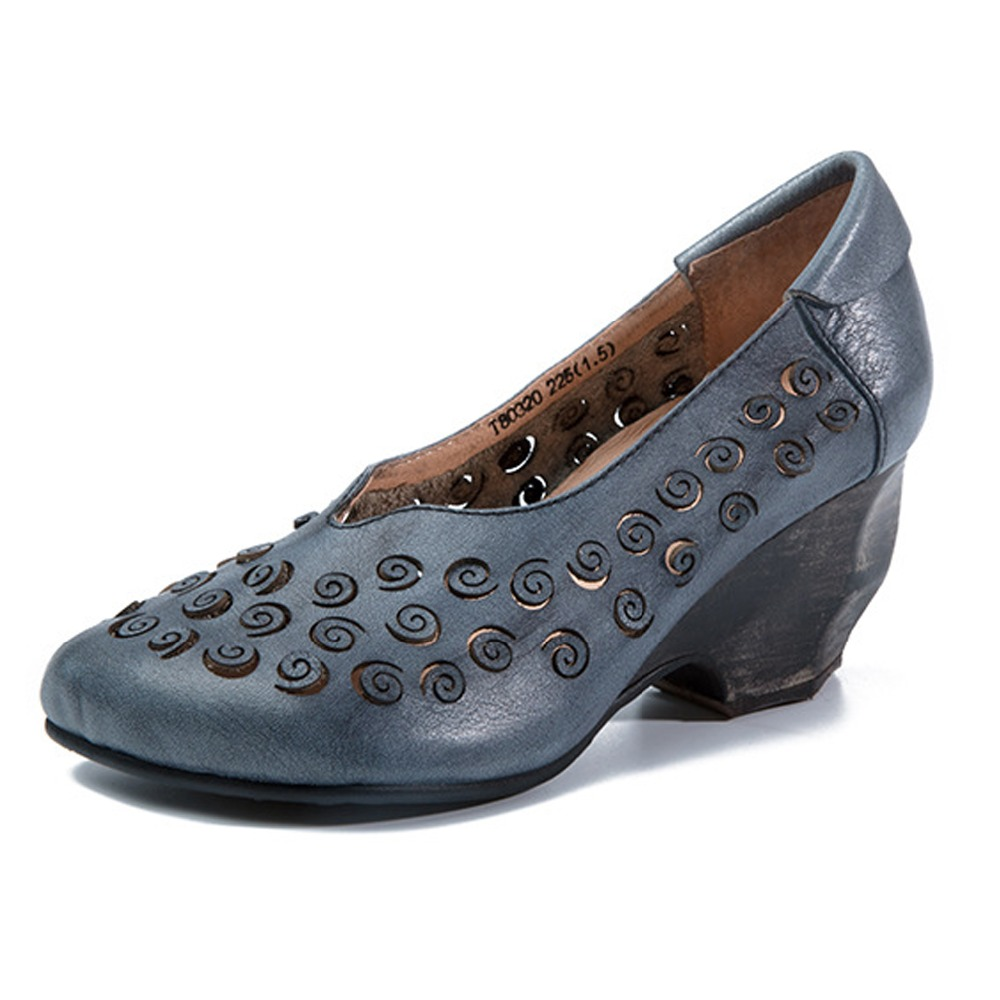 ФОТО 2017  Spring  Autumn genuine leather retro Women's  Casual handmade  high heel pumps  shoes woman  quality flower  Hot Sale
