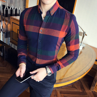 Men Shirt Flannel Plaid Long Sleeve Autumn Winter Vintage Shirt Men Causual Slim Fit Lattice Shirt