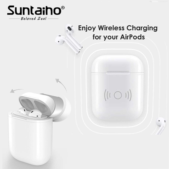 8b24a142bb2 Suntaiho Wireless Charger case for Apple airpods Wireless Bluetooth Headset  Wireless Receiver Compatible Charging for airpods