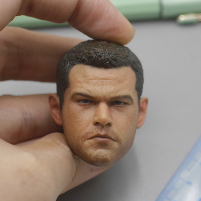 "1//6 Male Head Sculpt Model Matt Damon  Dark Colored Skin F 12/"" Figure Body Doll"