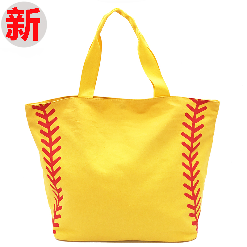 Super Large High Quality Softball Baseball Canvas Cotton Girls Tote Bags Team Players Accessories Yellow White Handbags 2