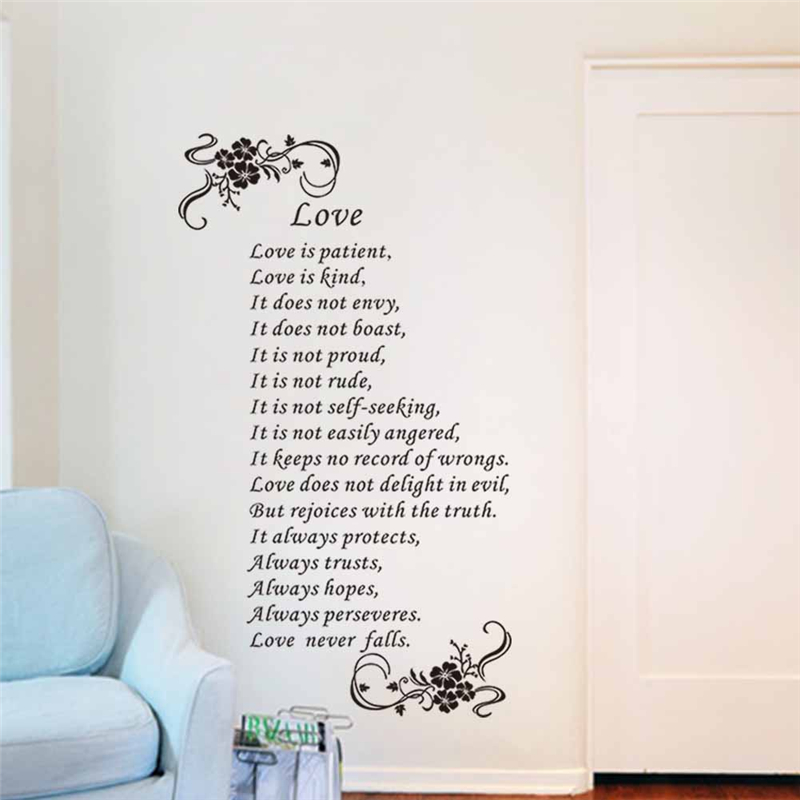 love is patient Love is kind love never falls christ bible quotes wall art stickers bedroom wedding gift removable decals vinyl-in Wall Stickers from Home ...  sc 1 st  AliExpress.com & love is patient Love is kind love never falls christ bible quotes ...