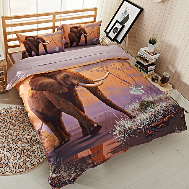 Egyptian Cotton High Quality 3d Elephant Bedding Set Queen Size