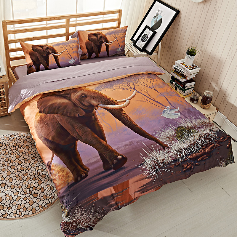 Egyptian Cotton High Quality 3D Elephant Bedding Set Queen Size Duvet Cover  Pillowcase Bed Sheets Adults