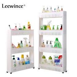 Leewince многоцелевой Ванная комната для хранения стеллаж для хранения мульти-многослойный, для холодильника сбоку полка со съемными колесами ...