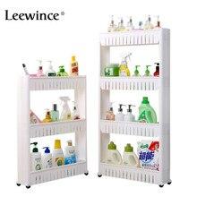 Leewince Mehrzweck Bad Lagerung Lagerung Rack Regal Multi schicht Kühlschrank Seite Regal Regal mit Abnehmbaren Rädern Riss