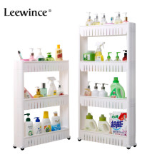 Leewince Multipurpose Bathroom Storage Storage Rack Shelf Multi layer Refrigerator Side Shelf Shelf with Removable Wheels Crack
